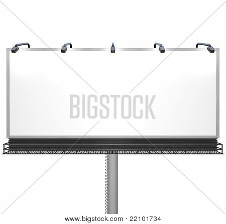 Here's a straight shot of a blank white billboard ready for you to place your own advertising message to grab attention and attract new customers