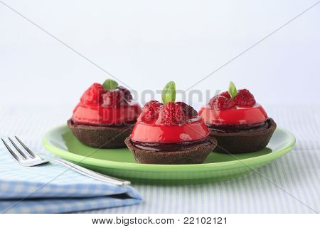 Chocolate And Raspberry Cakes