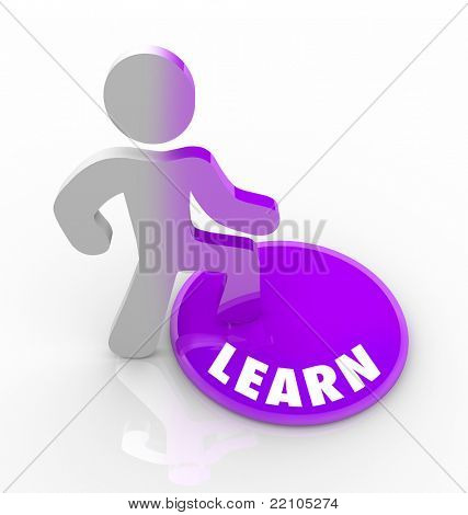 A person stands onto a button marked Learn and his color transforms to represent that he has filled with knowledge and understanding, either through schooling or education or life experience