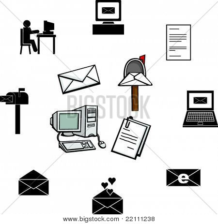 computer email illustrations and symbols set