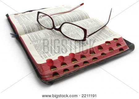 Open Bible With Glasses