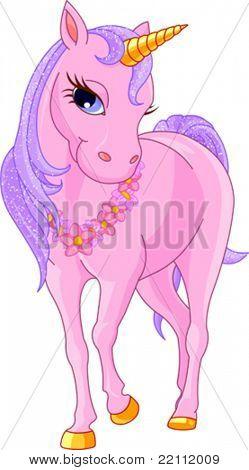 Illustration of walking beautiful  pink Unicorn.