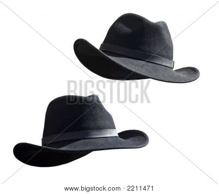 Two Black Felt Stetsons
