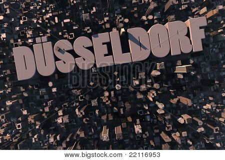 Top View Of Urban City In 3D With Name Düsseldorf