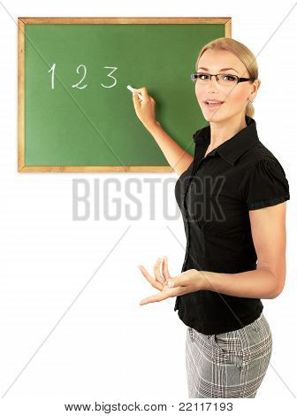 Young Teacher Writing Numbers