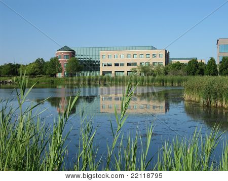 Beautiful modern day architecture of prarie center buildings in Hoffman Estates Illinois