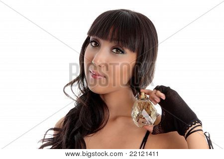 Beautiful Woman Holding Perfume Fragrance