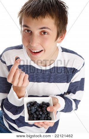 Healthy Life - Eating Blueberries