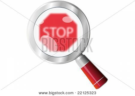 Stop sign magnifying glass