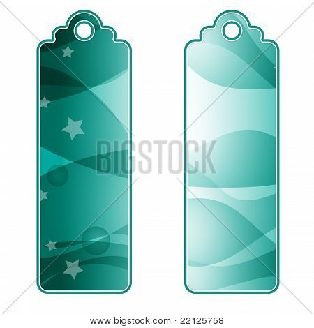 Beautiful green tags or labels with stars