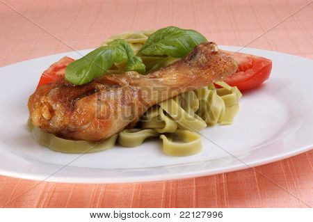 Grilled Chicken Thigh On Tagliatelle With Basil