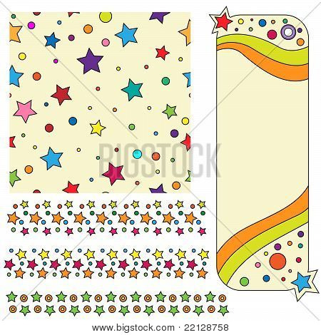 Texture tag and trims with colorful stars