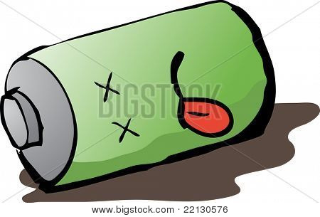Dead discharged battery cartoon humorous hand-drawn illustration