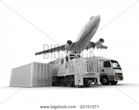3D rendering of an airplane, a truck, a freight train and a cargo container against a neutral background