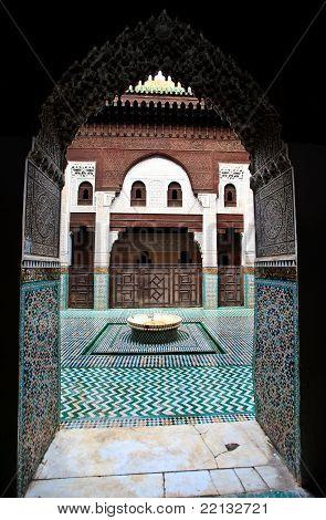 Arch Doorway Frames Courtyard Of Madrasa