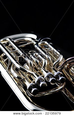 Gold Tuba Euphonium On Black
