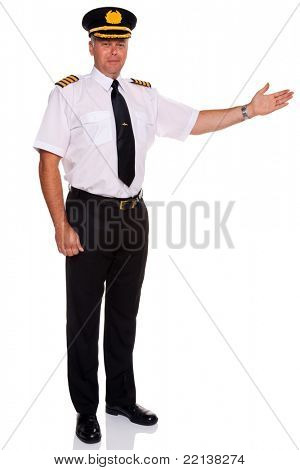 Photo of an airline pilot wearing the four bar Captains epaulettes arm out in a welcome gesture, isolated on a white background.