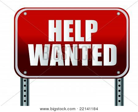 red help wanted sign illustration design