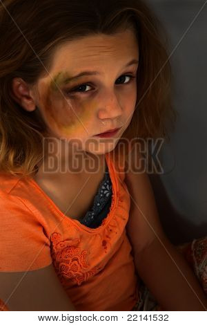 Abused Afraid Girl Child In Dark Crying