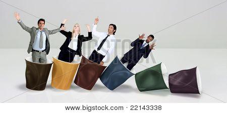 Office workers praising coffee