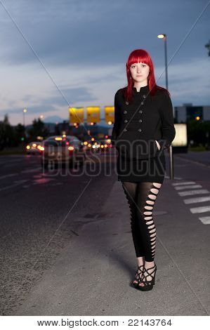 Young Sexy Girl On Street At Night