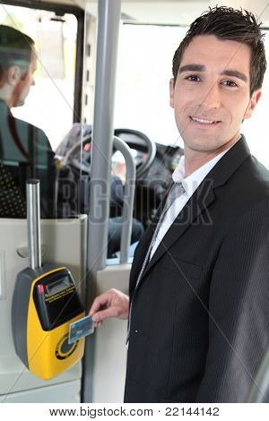 Commuter swiping his tram ticket