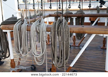 Sailboat Wooden Marine Rigs And Ropes.