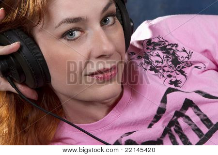 Blue Eyed Woman With Headphones