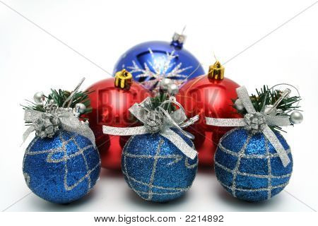 Set Of Celebratory Christmas-Tree Decorations Of Blue Color
