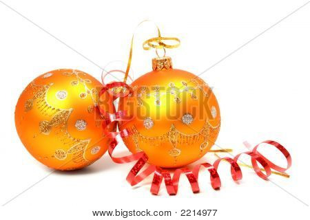 Two New Year'S Spheres Of Orange Color And Red Tinsel