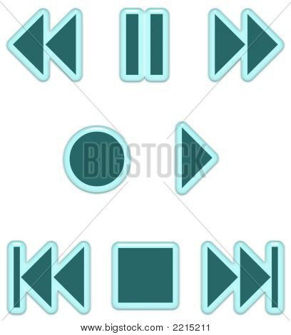 Aqua Glass Audio Buttons