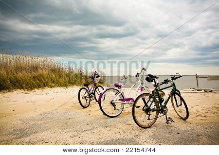 Bikes On The Beach At Mothers Beach, Bellport, New York.