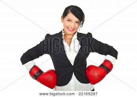 Happy Businesswoman With Boxing Gloves