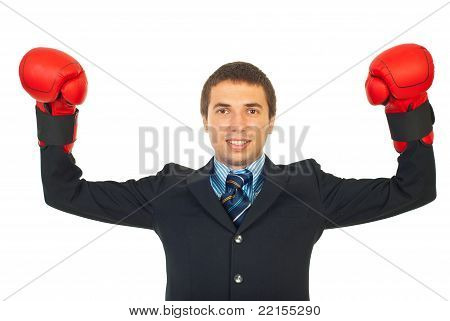 Cheerful Winner Business Man