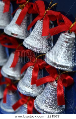 Christmas Handbells Of Silvery Color With Red Bows 2