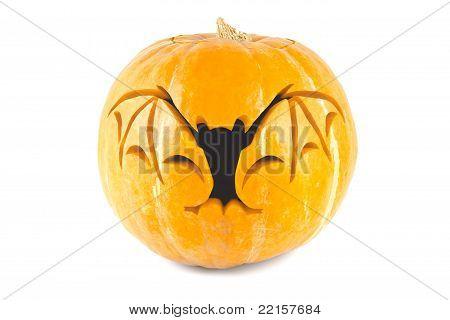 Halloween pumpkin with cut out bat