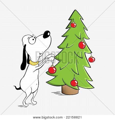 Funny dog and Christmas tree