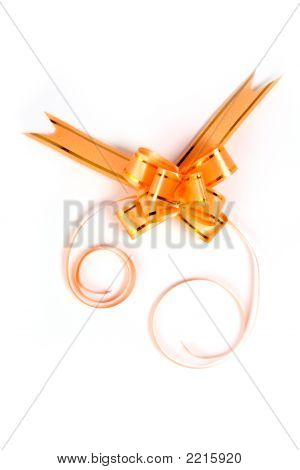 Gift Bow Of Yellow Color On A White Background
