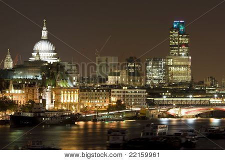 London Skyline, River Thames at Night