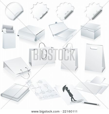 Set of vector white pape