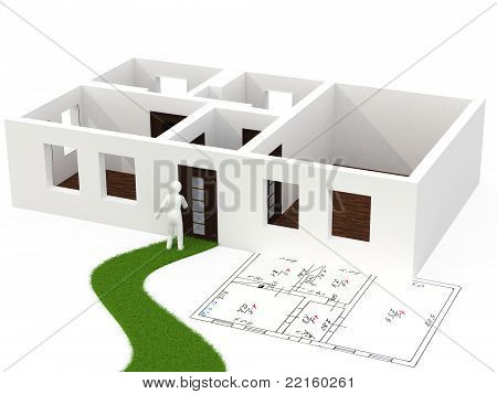 3d person with house