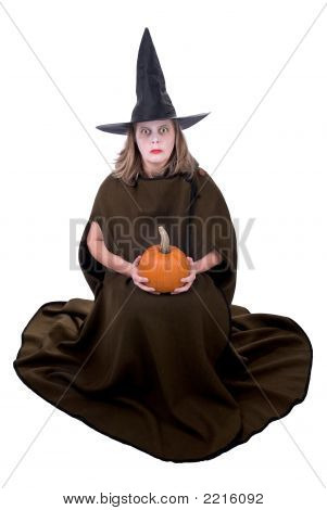 Witch Woman With Pumpkin
