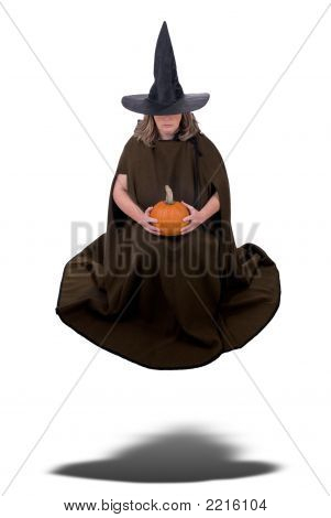 Witch Woman Floating With Pumpkin