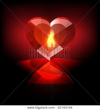 flaming heart-crystal