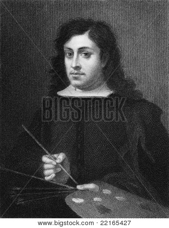 Bartolome Esteban Murillo (1617-1682). Engraved by E.Scriven and published in The Gallery Of Portraits With Memoirs encyclopedia, United Kingdom, 1833.