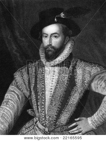 Walter Raleigh (1552-1618). Engraved by J.Pofselwhite and published in Lodge's British Portraits encyclopedia, United Kingdom, 1823.