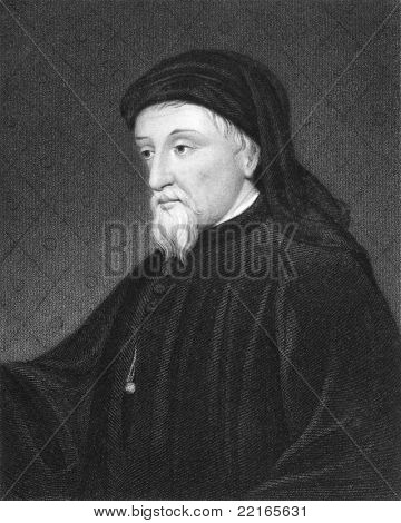 Geoffrey Chaucer (1343-1400). Engraved by J.Thomson and published in The Gallery Of Portraits With Memoirs encyclopedia, United Kingdom, 1833.