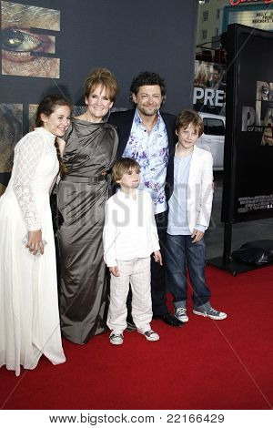 LOS ANGELES, CA - JUL 28: Andy Serkis; Lorraine Ashbourne, Sonny, Louis, Ruby at the Premiere of 'Rise of the Planet of the Apes' at Grauman's Chinese Theatre on July 28, 2011 in Los Angeles, CA