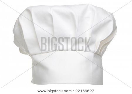 Photo of a chefs hat traditionally called a toque blanche, isolated on a white background.