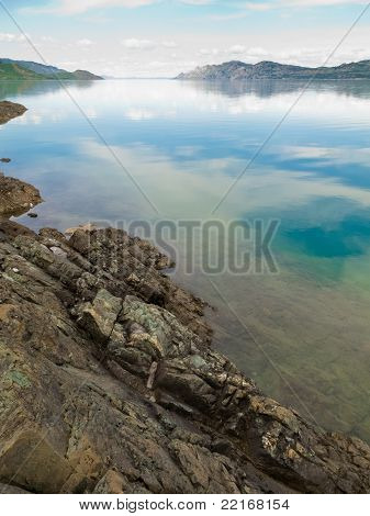 Lake Laberge, Yukon T, Canada, on calm summer day